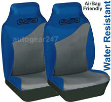 Blue Grey Water Resistant Car Aquasport Air Bag friendly Front Seat Covers Pair