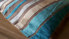 "MODERN LUXURY VELVET MULTI STRIPE CUSHION COVERS 18""x18"""