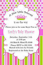 30 Invitations Princess Pink Fuchsia Mint Green Baby Girl Shower Birthday Custom