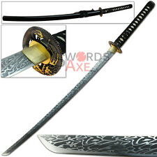 Foxfire Engraved Dragons Breathe Katana 1045 Carbon Steel Sword Full Tang