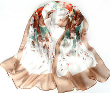Women's Lady Georgette Chiffon Long Soft Wrap Shawl Beach Silk Flower Scarf