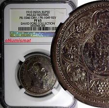 INDIA BRITISH 1910 Proof Mule Rupee Pattern NGC PF65 TOP GRADE SW-7.14 Plated in