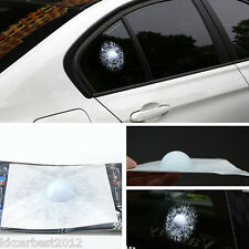 Car 3D White Golf Ball Hit Stickers Windshield Glass Body Adhesive Decals Crack