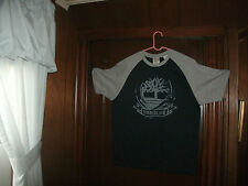 Timberland t-shirt s/s front navyblue graphic raglin size large brand new