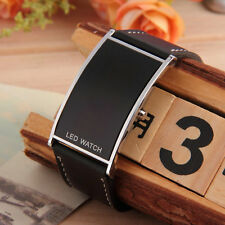 LED Digital Date Watch Leather Strap Stainless Steel Lady Men Wristwatch FE