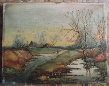 Charming original LANDSCAPE oil painting on canvas signed J.E.A. 1904
