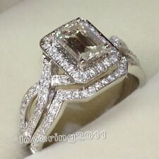 Dazzling lady's Topaz Diamonique 10KT White Gold Filled Wedding Ring Set Sz 7/N