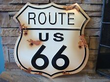 ROUTE 66 US ROAD HIGHWAY SHIELD TIN METAL RUSTIC SIGN BAR WALL GARAGE MAN CAVE