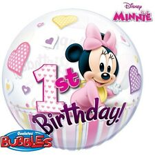 "Giant 22"" Bubble Minnie Mouse 1st Birthday Qualatex Original Licensed Birthday"