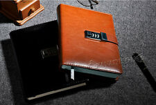 Business Brown Leather Diaries Journal Notebook Secret Diary with Lock Password