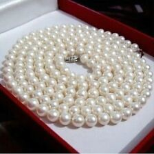 36 inch 8-9mm AAA perfect Akoya white cream pearl necklace 14k White Gold