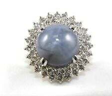 Huge Round Star Blue Sapphire & Diamond Cocktail Ring 14k White Gold 25.40Ct