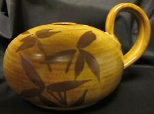 ART POTTERY STUDIO HANDCRAFTED SIGNED Vase Oil Lamp DP Ixote Fish Bamboo 7.75""