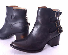 FREEBIRD by Steven Black Leather Hammer Buckle Ankle Boots Size 7  EUC