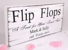 Personalised - Flip Flops Free Standing Vintage Wedding Sign Shabby but Chic