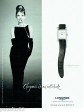 PUBLICITE ADVERTISING 026  2001  Longines  montre Dolce Vita & Audrey Hepburn