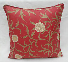 William Morris Fabric Cushion Cover 'Scroll' Raspberry/Olive 100% Cotton