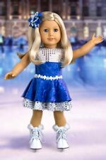 Ice Dancer - Clothes for 18 inch American Girl Doll, Ice Skates, Leotard Skirt