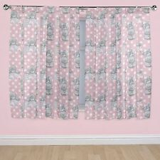 """Me To You Tatty Teddy Pink and White Bonbon 66"""" x 54"""" Drop Pencil Pleat Curtains"""