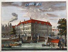 Vista de la ciudad de Amsterdam, diaken Wees Huys, Commelin Original Antigua de impresión de 1693