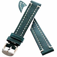 18mm Green HIRSCH Liberty Nature Genuine Leather Watch Strap Band Uhrenarmband