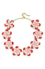 $52 Baublebar Mod Collar Necklace Leather Flower Power Red/Pink/Gold-Tone
