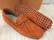 NEW $525 TOD'S MEN ORANGE SUEDE LEATHER DRIVING SHOES 7.5 US 8.5 MADE IN ITALY