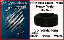 7 pieces ~ NEEDLE Kit & BLACK Heavy Nylon Hand Sewing Thread for Leather & more!