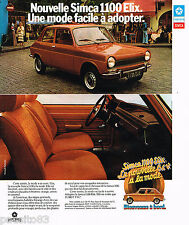 PUBLICITE ADVERTISING 065  1974  SIMCA CHRYSLER  1100 ELIX