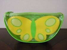 Vtg Clinique Make Up Bag Butterfly Yellow Lime Green Waterproof Plastic Cosmetic