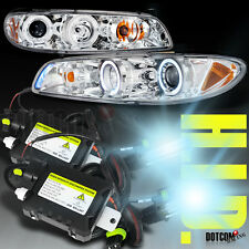 97-03 Pontiac Grand Prix LED Halo Rim Projector Headlights+H3 6000K HID Set