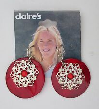 s Red shell dangle beach filigree overlay Earrings CLAIRES FASHION JEWELRY