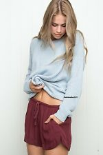 brandy melville Burgundy High Waisted shorts with draw strings NWT S/M