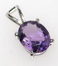 Purple AMETHYST 925 Sterling SILVER Pendant Oval Solitaire Gemstone Jewellery