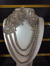 Necklace Set Earrings tikka  Wedding Indian Bollywood Jewellery Silver Tone -q1