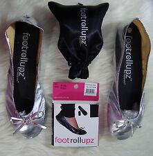 Footrollupz Foldable Flats Lightweight Shoes Silver Size Medium 7.5/8.5
