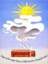 Publicidad Gevaert películas fotográficas Sol en la nube Suiza cartel impresión lv905