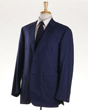 NWT $4195 OXXFORD HIGHEST QUALITY Navy Blue Stripe Super 140s Wool Suit 44 R