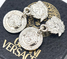 GIANNI VERSACE Medusa Dangle Earrings Silver tone Charm Excellent w/BOX #718