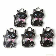 20x Hot Sale Charms Multicolor Enemal Cats Alloy Pendants Fit Necklaces DIY L