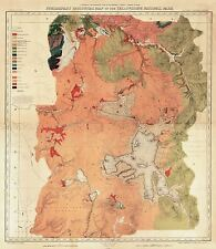 MAP ANTIQUE 1878 HAYDEN YELLOWSTONE PARK GEOLOGICAL REPLICA POSTER PRINT PAM1948