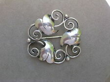 SCANDINAVIAN VINTAGE CONTINENTAL 830 SILVER ROUND THREE LEAF PIN BROOCH - C.H.G