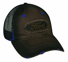 BROWN & BLACK FORD PATCH MESH TRUCKER SNAPBACK HAT CAP ADJUSTABLE CURVED BILL