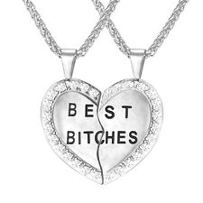 Best Bitches Pendant 18K Gold Plated Heart Necklace 2pcs Stainless Steel Jewelry