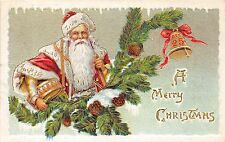 SANTA CLAUS Merry Christmas Holiday Postcard c1910 Gold Lined Icicles 690