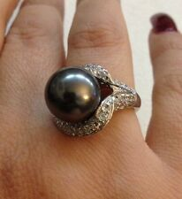 Sterling Silver & Gray Pearl Fancy Ring Sizes 8