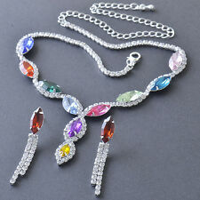 Multi Colour Swarovski Crystal 925 Sterling Silver Plated Chain & Earrings Set