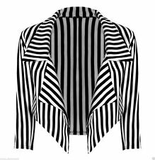Womens Ladies Casual Cropped Striped Waterfall Plus Size Blazer Jacket Coat