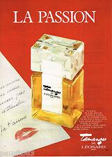 PUBLICITE ADVERTISING 055  1982  LEONARD   parfum femme TAMANGO LA PASSION