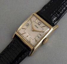 JAEGER LECOULTRE 14K Solid Gold Art Deco Gents Vintage Watch 1945